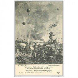 carte postale ancienne AVIATION. Biplans protégeant un Ballon Observateur contre les taubes. Guerre 1914-18. Avion et Aviateurs