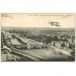 carte postale ancienne AVIATION. Paris Aéroplane au dessus de Passy 1913. Avions et Pilotes