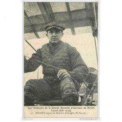 carte postale ancienne AVIATION. Rouen 76. Aviateur Chavez sur biplan Farman en 1910. Aéroplane et Avion