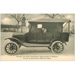 carte postale ancienne TRANPORTS. Fourgon sur Ford rayonnage portes arrières fourni et carrossé par Privat à Dijon (21)