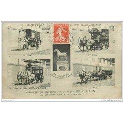 carte postale ancienne TRANSPORTS. Les Attelages de livraison Félix Potin. Concours Hippique de 1911