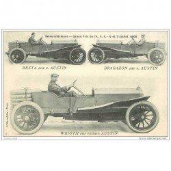 carte postale ancienne TRANSPORTS. Resta, Brabazon et Wrigth sur voiture Austin. Grand Prix 1908