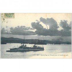 carte postale ancienne TRANSPORTS. Appareillage de l'Escadre pour Combat de nuit 1907. Bateaux et Navires de Guerre