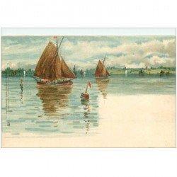 carte postale ancienne TRANSPORTS. Bateaux et Navires. Barques de Pêcheurs par Raphaël Tuck vers 1900