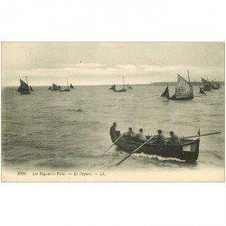 carte postale ancienne TRANSPORTS. Bateaux et Navires. Régates à Voile le Départ