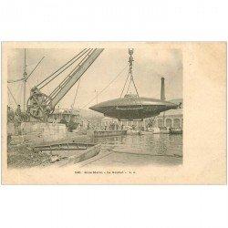 carte postale ancienne TRANSPORTS. Bateaux et Navires. Sous-Marin Le Goubet vers 1900