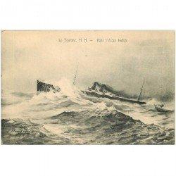 carte postale ancienne TRANSPORTS. La Tourane dans Océan Indien. Bateaux et Navires Paquebot