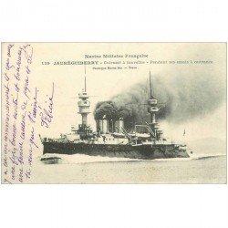carte postale ancienne TRANSPORTS. Marine de Guerre. Cuirassé Jauréguiberry 1914