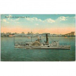 carte postale ancienne TRANSPORTS. Navires et Bateaux. A vapeur Water Front Coney Island N.Y