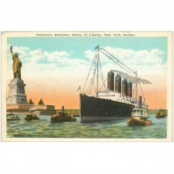 carte postale ancienne TRANSPORTS. Navires et Bateaux. America Welcome Statue of Liberty New York Harbor