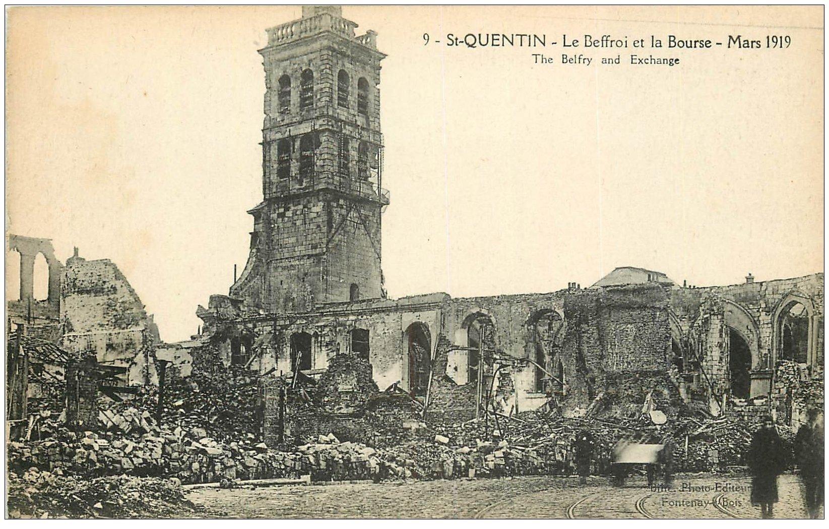 carte postale ancienne 02 SAINT-QUENTIN. Beffroi et Bourse en 1919