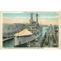 carte postale ancienne TRANSPORTS. Navires et Bateaux. El Vermont Canal de Panama