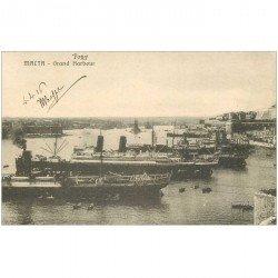 carte postale ancienne TRANSPORTS. Navires et Bateaux. MALTA Grand Harbour 1916