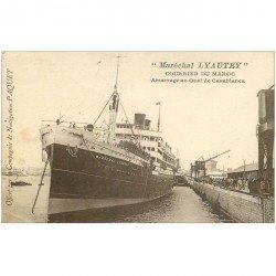 carte postale ancienne TRANSPORTS. Navires et Bateaux. MAROC Courrier Maréchal Lyautey à Casablanca