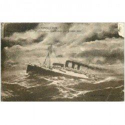 carte postale ancienne TRANSPORTS. Navires et Bateaux. Messagerie Champollion
