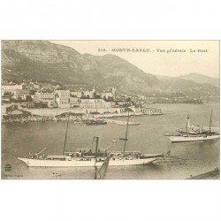 carte postale ancienne TRANSPORTS. Navires et Bateaux. MONTE CARLO Yachts dans le Port