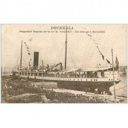 carte postale ancienne TRANSPORTS. Navires et Bateaux. Paquebot Doukkala à Marseille