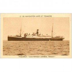carte postale ancienne TRANSPORTS. Navires et Bateaux. Paquebot Gouverneur Général Tirman