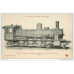 carte postale ancienne TRANSPORTS. Locomotive d'Allemagne à 8 roues Etat Prussien 44. Collection Fleury