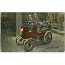 carte postale ancienne METIERS SAPEURS POMPIERS. La Pompe électrique sur Camionette ancienne. Dans l'état. Format 13.5 x 8.5 cm