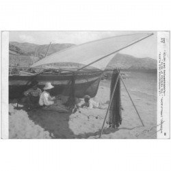 carte postale ancienne METIERS DE LA MER. Pêches et Poissons. Le Ramendage des Filets par Camille Boiry