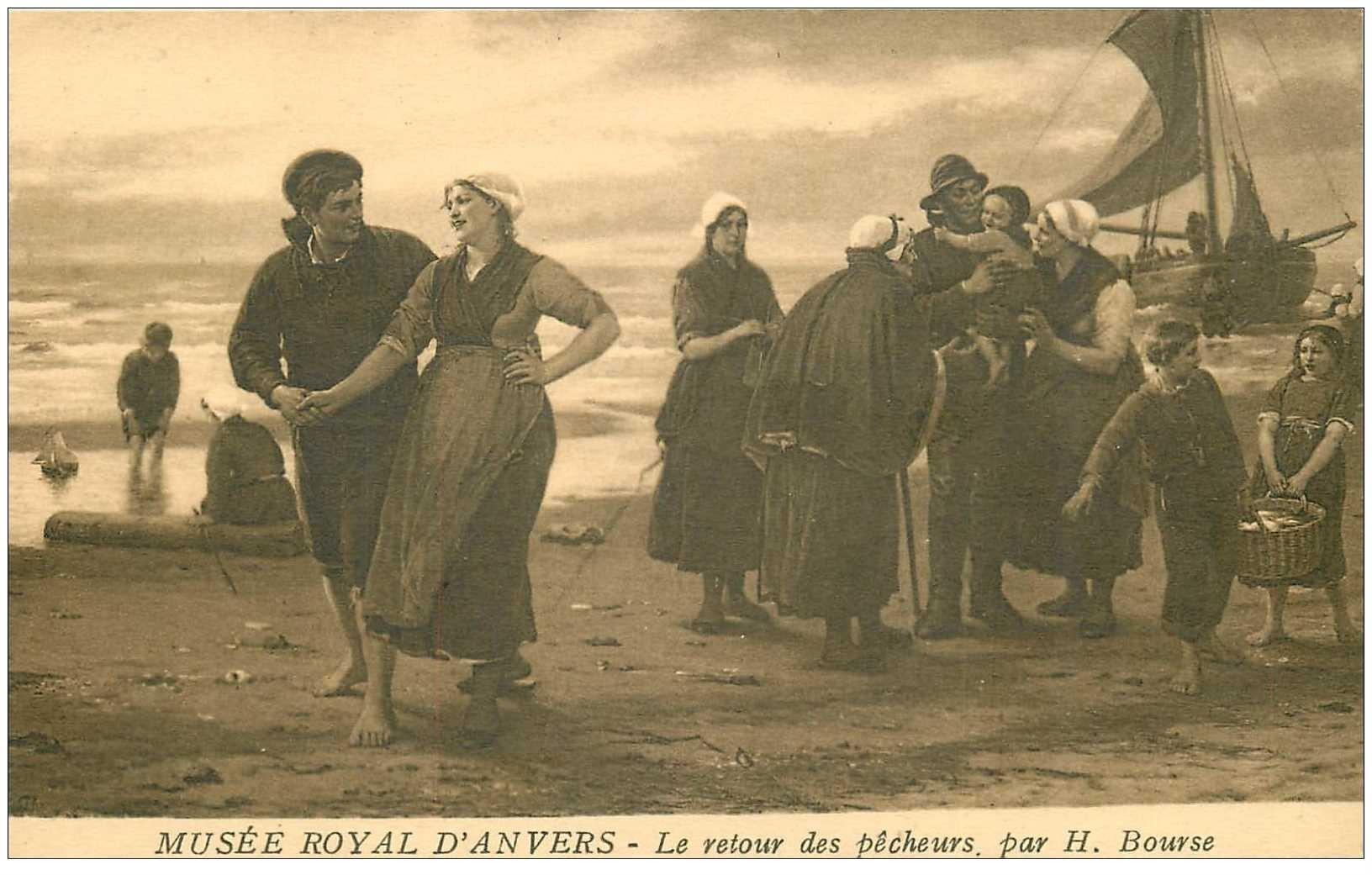 carte postale ancienne METIERS DE LA MER. Pêches et Poissons. Le Retour des Pêcheurs par House