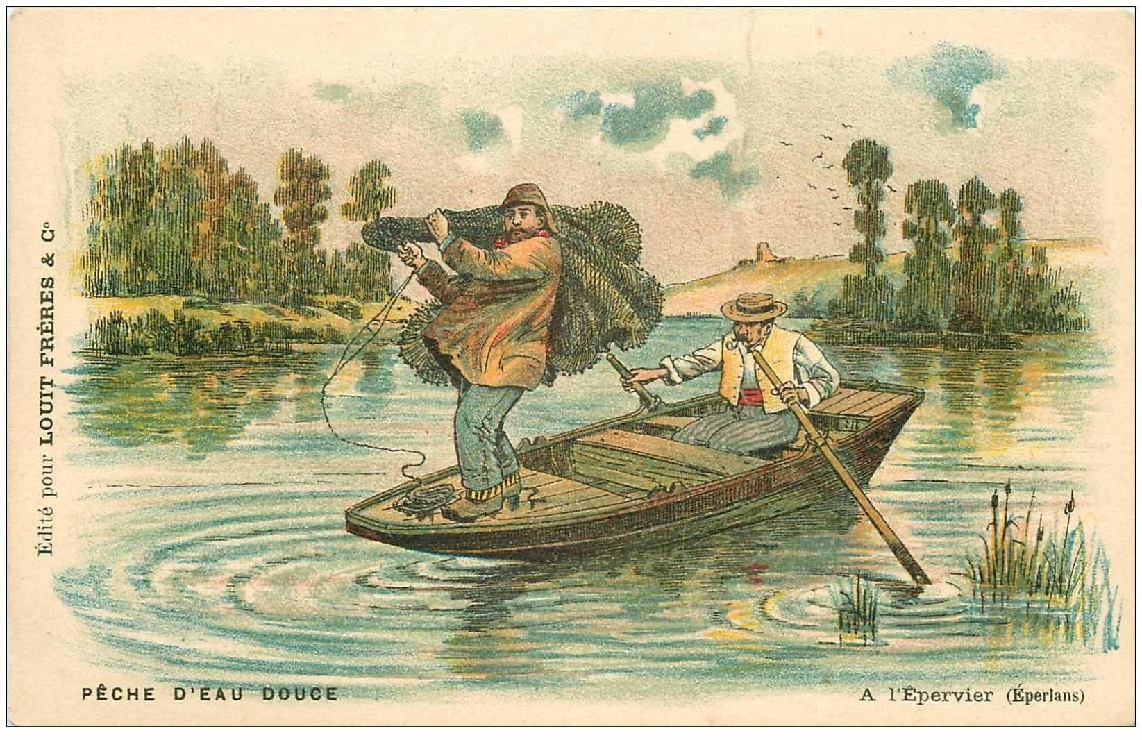 carte postale ancienne METIERS DE LA MER. Pêches et Poissons. Pêche à l'Epervier ou Eperlans . Chocolat Louis Frères