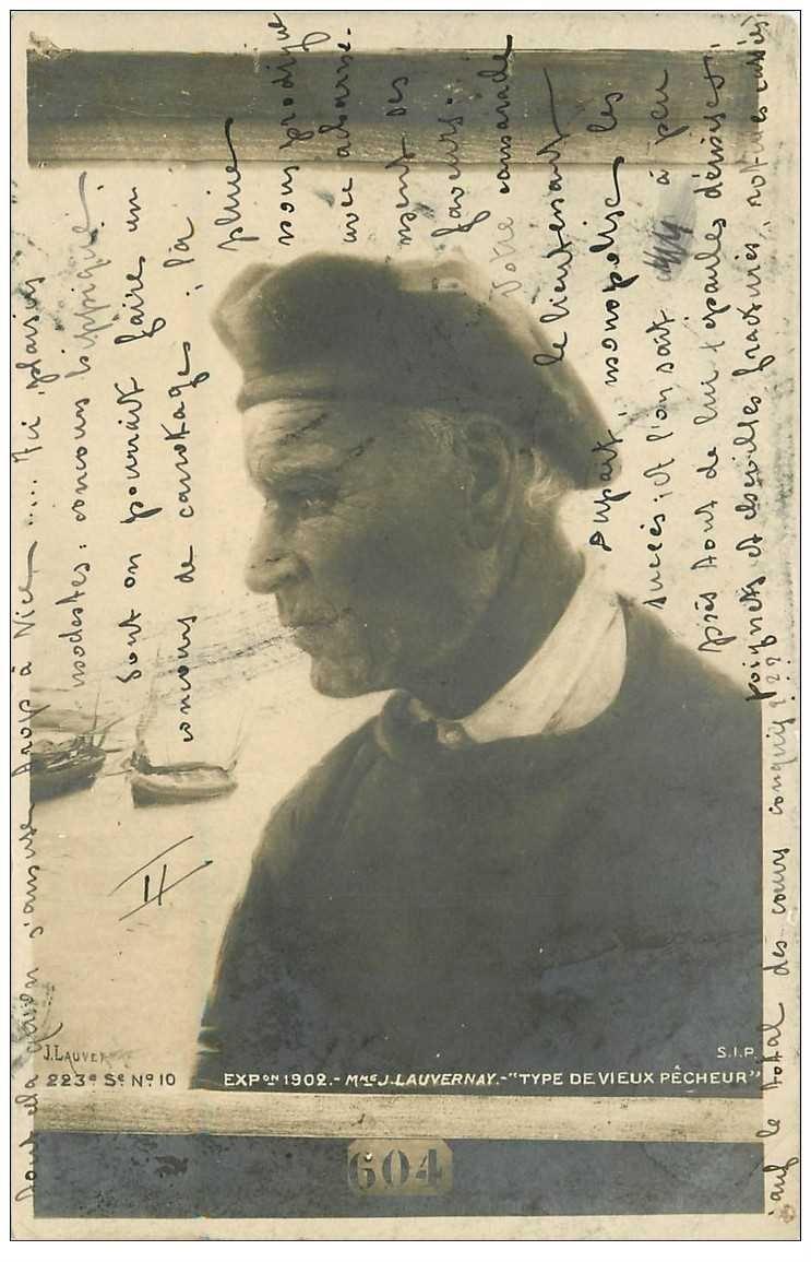 carte postale ancienne METIERS DE LA MER. Pêches et Poissons. Type de Vieux Pêcheur par Lauvet 1903
