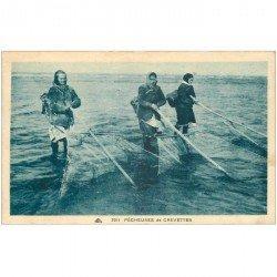 carte postale ancienne METIERS DE LA MER. Pêcheuses de Crevettes 1946. Crustacés et Poissons