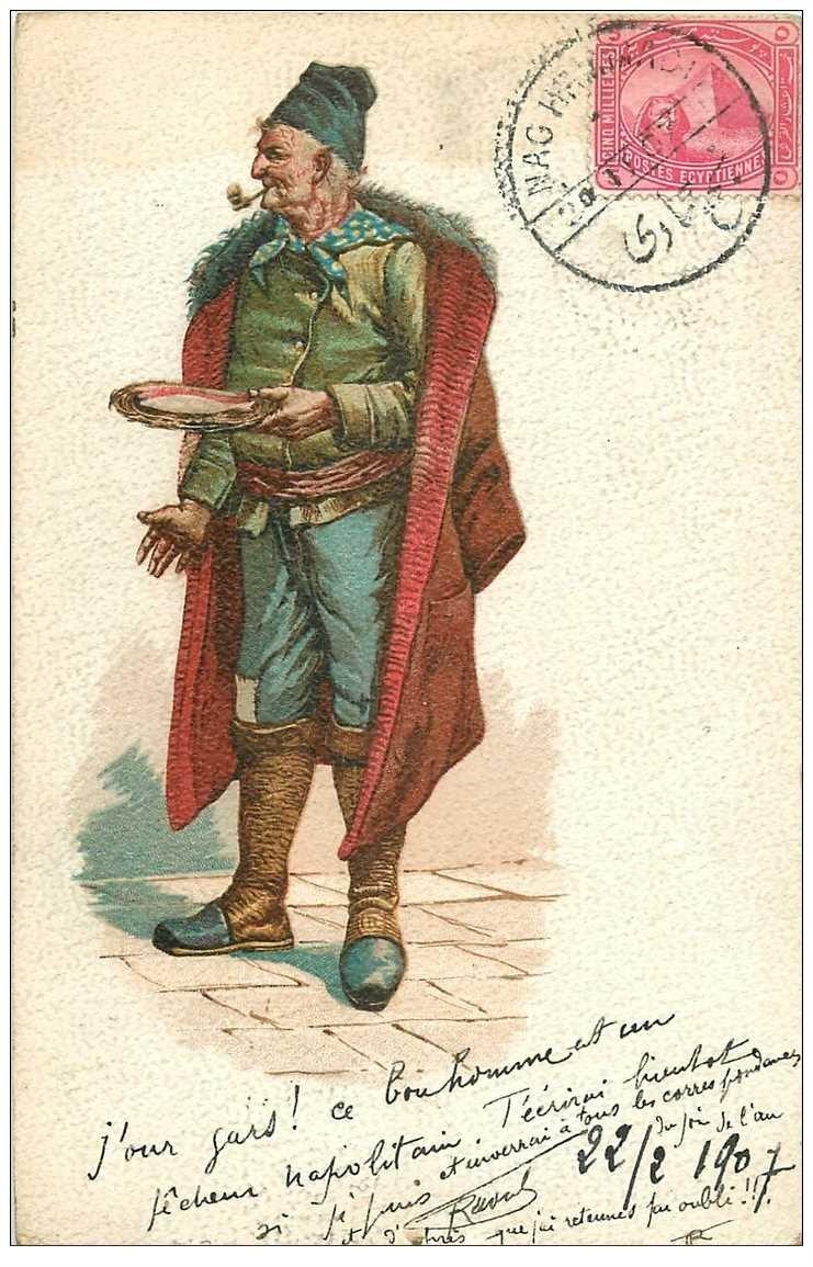 carte postale ancienne METIERS. Un Pêcheur Napolitain 1907. Verso moyen