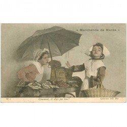 carte postale ancienne METIERS. La Marchande de Marée Poissonnière 1905 comment il n'est pas bon ?