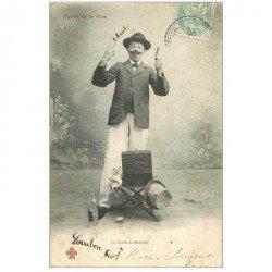 carte postale ancienne Types de la Rue. Le Bonimenteur et son savon à détacher 1906