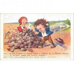 carte postale ancienne Carte postale publicitaire pour la Potasse d'Alsace illustration de Right