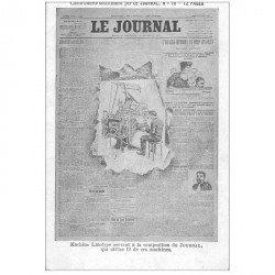 carte postale ancienne FANTAISIE. Carte montage avec éclatement du JOURNAL machine Linotype