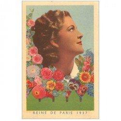 """carte postale ancienne FANTAISIE. La Reine de Paris en 1937. Publicité """""""" Le Paysan """""""" graines en sachets"""