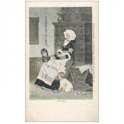 carte postale ancienne PUBLICITE CHOCOLAT VINAY. Coucou Bretonne et ses Enfants