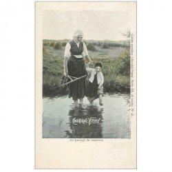 carte postale ancienne PUBLICITE CHOCOLAT VINAY. Le Passage du Ruisseau