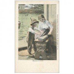 carte postale ancienne PUBLICITE CHOCOLAT VINAY. Musicien en Herbe