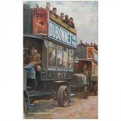 carte postale ancienne PUBLICITE DUBONNET. Autobus Londoniens sur le Front. Tampon militaire 1915