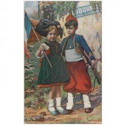 carte postale ancienne PUBLICITE DUBONNET. Le Retour du jeune Zouave et l'Alsacienne 1915