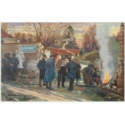 carte postale ancienne PUBLICITE DUBONNET. Scène d'Avant Poste soldats Poilus. Tampon militaire 1915