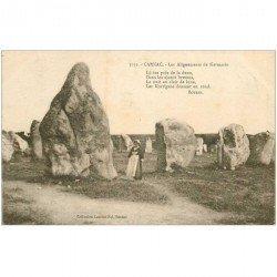carte postale ancienne DOLMENS ET MENHIRS. 56 Carnac alignements de Kermario animation par Botrel 1924
