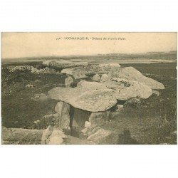 carte postale ancienne Dolmens et Menhirs. LOCMARIAQUER. Pierres Plates 1914
