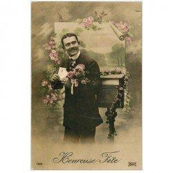 carte postale ancienne BONNE ANNEE. Homme et boîte à lettres