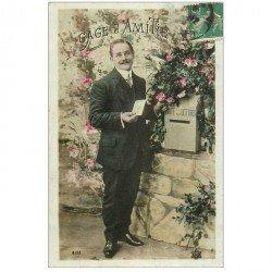 carte postale ancienne BONNE ANNEE. Homme et boîte à lettres 1910