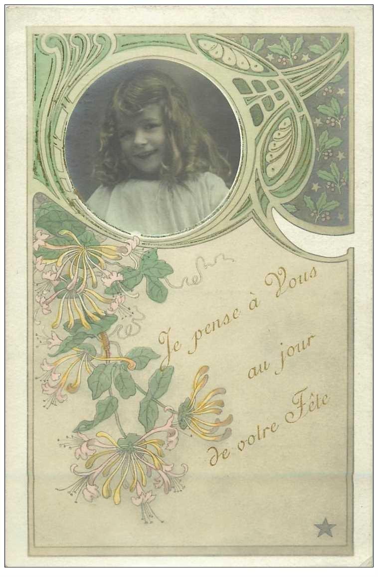 carte postale ancienne BONNE FETE. Fillette avec photo style Art déco. Edition Etoile