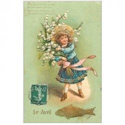 carte postale ancienne FETE 1er AVRIL. Enfant et Poisson. Carte gaufrée et dorures 1908