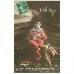 carte postale ancienne FETE 1er AVRIL. Enfant et Poissons 1913