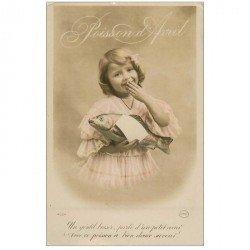 carte postale ancienne FETE 1er AVRIL. Enfant et Poissons 1913 Circé