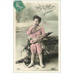 carte postale ancienne FETE 1er AVRIL. Enfant et Poissons vers 1908